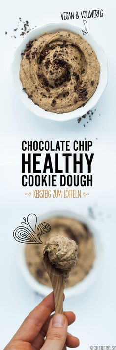 Healthy Cookie Dough – Healthy chickpea cookie dough – About Healthy Desserts Cookie Dough Vegan, Chickpea Cookie Dough, Chickpea Cookies, Protein Cookie Dough, Cookie Dough Frosting, Cookie Dough Bars, Chocolate Chip Cookie Dough, Healthy Biscuits, Healthy Cookies