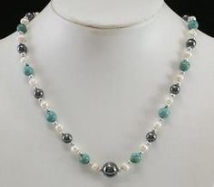 Hand-Strung Necklace Hematite Turquoise Pearl Beads-Free Shipping! $12.75