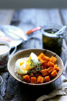 Savoury Oatmeal with Roasted Squash, Soft-Boiled Eggs, and Herb Oil