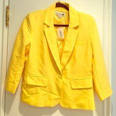 F21 Blazer NWT. Yellow Forever 21 blazer. 3/4 sleeves. Forever 21 Jackets & Coats Blazers