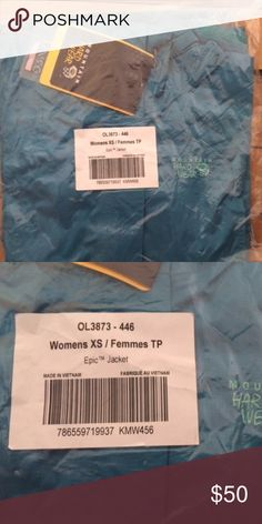 NWT Mountain Hardwear Women's XS Epic Rain Jacket New with tags and sealed in packaging. Teal Mountain Hardwear XS women's rain jacket. Pit zips, adjustable hood, adjustable cuffs, two pockets. Mountain Hardwear Jackets & Coats