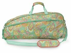 "All For Color Paisley Breeze Tennis Bag, 2-Pack by All For Color. $72.00. Adjustable and removable padded shoulder strap. Exterior clip for easy hanging. Material: 100% Polyester. Dimensions: 27""x5.5""x12"". From the Manufacturer                Features a main zippered compartment that fits two full-sized racquets. Also features two additional accessory compartments perfect for storing balls, grips, water bottles and more.                                    Product Descrip..."