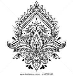 oblong mandala coloring page | Henna tattoo flower template in Indian style. Ethnic floral paisley ...