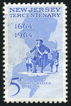 Stamp printed by United States, shows Philip Carteret Landing at Elizabethtown and map of New Jersey, circa 1964