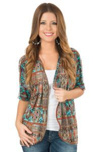 Jody Women's Turquoise & Rust Tribal Print Kimono Cardigan | Cavender's