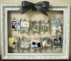 DIY: No hang-framed hanging pictures! Needed- Large frame, wire, mini-clothes pins, *ribbon for bow, pretty scraps of paper/cloth for decoration or Love Notes or Family Photos or Doodles! Get creative! Use in hobby room instead of cork board! Foto Gift, Cute Crafts, Diy And Crafts, Cadre Photo Original, Do It Yourself Quotes, Decoration Originale, Hanging Pictures, Framed Pictures, Life Pictures