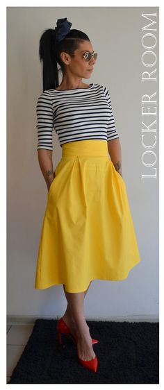 Yellow skirt / Yellow maxi skirt /High Wast by ClothesByLockerRoom