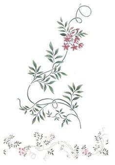 Jasmine Vine Border Wall Stencil by DeeSigns