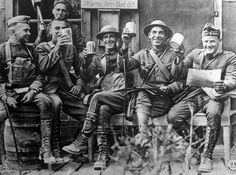 WW1: US Army doughboys enjoy a drink of beer somewhere on the Western Front during a lull. The entry of the US in the war came only in 1917, hence American forces arrived fresh and well provisioned. Morale remained high to the end one year later -- when both the French and British armies had to struggle with sagging courage and frequent disobedience among their troops.