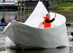 Life size paper boat created by Frank Boelter from Germany