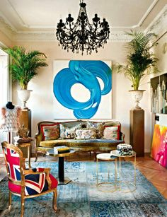 Elegant bohemian living room.