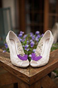 Wedding shoes , purple lace butterflies bridal shoes