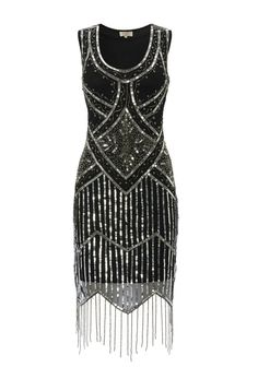 UK14 US10 Black Vintage 1920s Flapper Gatsby Downton Abbey Fringe Beaded Dress #GatsbyladyLondon #20s
