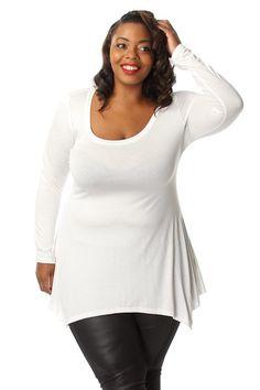 0e509e2ad39 Plus Size Solid Long Sleeve Cascade Tunic