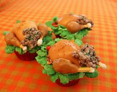 """I made these """"turkey cupcakes""""--fairly simple and realistic looking--marshmellows, caramels, corn flakes, cinamon, pound cake, cookie sticks, candy coated sunflower seeds ( and, of course, a cupcake)Google Image Result"""