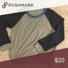 Crew neck blouse Grey crew neck with embellished neck Tops Blouses