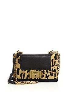 de4191b1efac Prada Glace Leather & Leopard-Print Calf Hair Chain Shoulder Bag Hair  Chains,