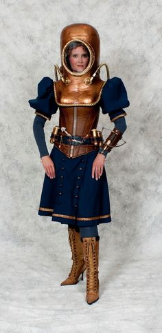 Steampunk Lady Diver (copper diving helmet, victorian bathing suit dress, lace up boots) - For costume tutorials, clothing guide, fashion inspiration photo gallery, calendar of Steampunk events, & more, visit SteampunkFashionGuide.com