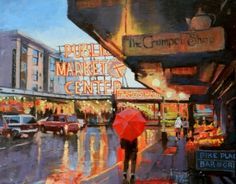 Meet Me at the Market Pike Place Market, Seattle city oil painting by Robin Weiss, painting by artist Robin Weiss