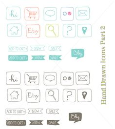 CLIP ART - Hand drawn icons part 2 - for commercial and personal use. $8.00, via Etsy.