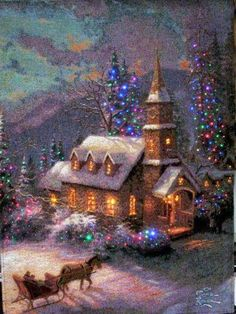 Ideas painting christmas scenes thomas kinkade for 2019 Thomas Kinkade Art, Thomas Kinkade Christmas, Noel Christmas, Vintage Christmas Cards, Christmas Pictures, Winter Christmas, Vintage Holiday, Vintage Cards, Christmas Lights