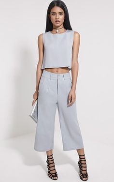 Harlow Grey High Waisted Culottes
