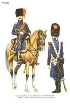 Ufficiale dell'artiglieria a cavallo e cannoniere dell'artiglieria a piedi della guardia imperiale francese
