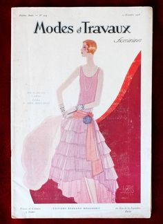 "The Nov., 1928 cover of ""Mode Et Travau"", Evening dress. From Kittyinva@tumblr.com"