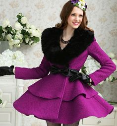 Purple with black fur collar waist double cultivate large pendulum-Coat Trench Coats from stylishplus.com