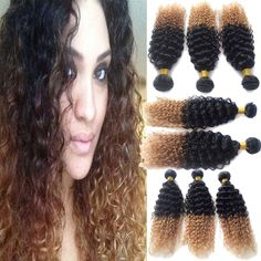 5A Braziliain Human Hair Lady Products Ombre Curly Virgin Hair 2 Tone Colored  #WIGISS #HairExtension