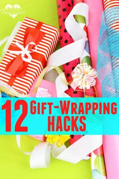 Yes, it's that time of year when you get buried in wrapping paper and gift bags! Let these gift-wrapping hacks make life easier for you and help you create cute and simple wrapped gifts! www.pintsizedtreasures.com