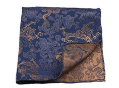Pocket squares / Chinese brocade blue bronze