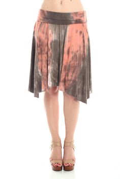 Fold Over Waist Band Tie Dye Uneven Hem Flare Mini Skirt – Jubilee Couture