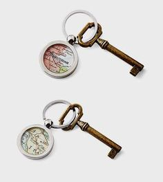 chrome steel vintage map key chain ring made to order