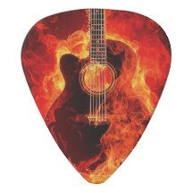 #Burning #Guitar #Pick Brown Orange Flames #Guitarist #ChristmasGift