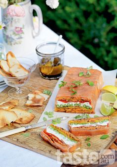 recipe: chargrilled vegetable terrine with smoked salmon. photo: Mark O'Meara