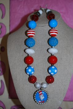 Chunky Bead & Bottle Cap Necklace  Cat in the by beadazzledkiddos, $17.00