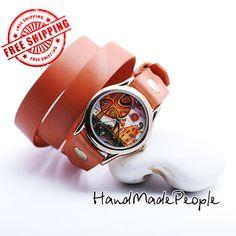Little Town Orange Leather Bracelet Wrap Around by HandMadePeople