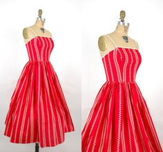 33d327d53c9d 1950s Red Lanz Day Dress / Vintage Embroidered Cotton Summer Dress