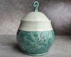 Peacock Green Wheel Thrown Slip Trailed Lidded Jar by Symmetrical Pottery