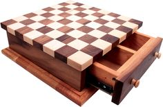 Walnut & Maple Checkers & Chess Set w Storage Drawer Made by Camden Rose in the USA: Palumba Wooden Baby Toys, Wood Toys, Wood Projects, Woodworking Projects, Chess Set Unique, Chess Boards, Chess Table, Wood Games, Natural Toys