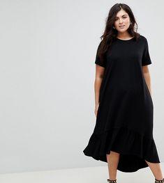 ASOS Damen ASOS DESIGN Curve – Mini-T-Shirt-Kleid mit abfallendem Saum und  Stickerei –   2201480578036 3ecd10f836