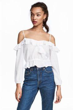 Блузка с открытыми плечами - Белый - Женщины | H&M RU