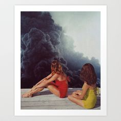 SUNBATHING Art Print by Beth Hoeckel Collage & Design - $18.00 -- FOR OFFICE