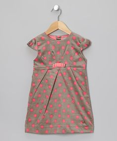 Take a look at this Gray & Pink Polka Dot Dress - Toddler & Girls on zulily today!