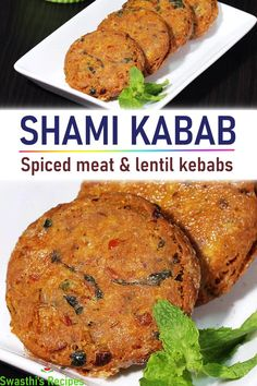 Shami kababs are a popular kind of kebabs from Indian sub-continent. These are flavor packed and are made with meat, chana dal, spices and herbs. Shami kabab are a popular appetizers from Mughlai cuisine that are made with meat, chana dal and spices. Cutlets Recipes, Kebab Recipes, Lamb Recipes, Veg Recipes, Healthy Recipes, Indian Chicken Recipes, Easy Chicken Recipes, Indian Food Recipes, Indian Foods