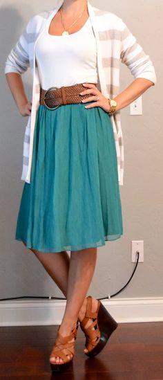 teal midi skirt, striped cardigan, wide belt