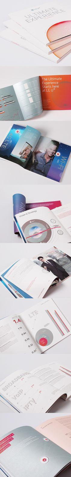 LG U+ annual report 2011 by jungah lee, via Behance Brosure Design, Cover Design, Layout Design, Brochure Layout, Corporate Brochure, Report Design, Catalog Design, Visual Communication, Editorial Design