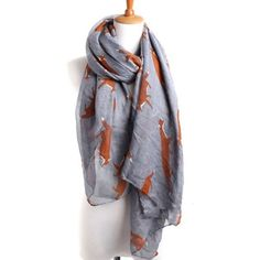 NEW Grey Whimsical Fox Scarf Grey whimsical fox scarf. Also available in navy blue and oatmeal/taupe colors in separate listings. New without tags. Accessories Scarves & Wraps