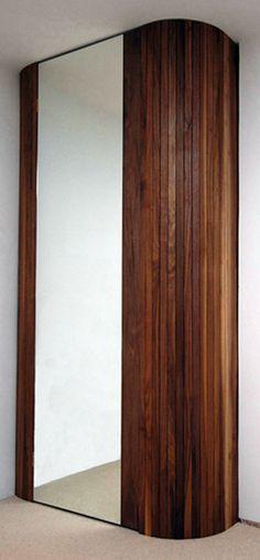 Walnut strip and mirror door wardrobe. Lined in walnut with strip-light rail